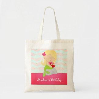 Modern Cute Mermaid Pink Birthday Party Tote Bag
