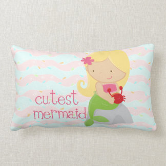 Modern Cute Mermaid Pink Personalized Pillows