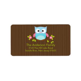 Modern Cute Owl Address Label