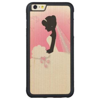 modern cute pink bride silhouette bride carved maple iPhone 6 plus bumper case