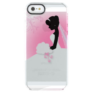 modern cute pink bride silhouette bride clear iPhone SE/5/5s case