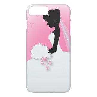 modern cute pink bride silhouette bride iPhone 7 plus case