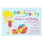 Modern Cute Pool Party Girls Birthday Card
