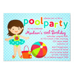 Modern Cute Pool Party Girls Birthday Personalized Announcements