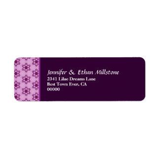 Modern Cute Pudgy Purple Flowers Label