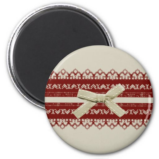 modern Cute Red Lace Beige Fashion 2 Inch Round Magnet