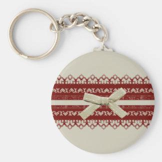 modern Cute Red Lace Beige Fashion Basic Round Button Keychain