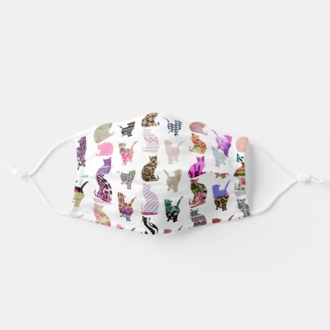 Modern cute trendy girly floral cats pattern cloth face mask