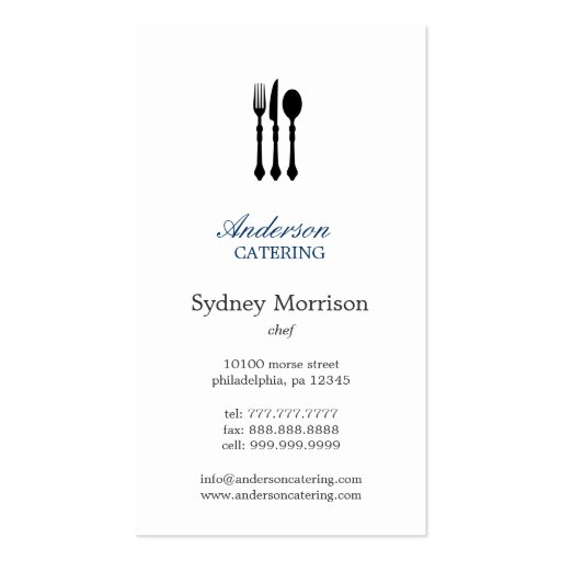 Modern Cutlery Chef/Catering/Restaurant - Groupon Business Card Template
