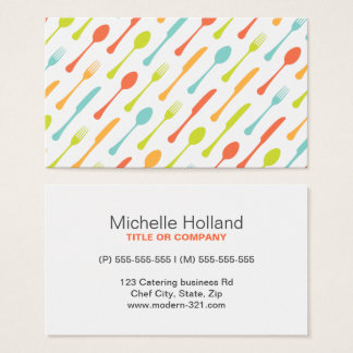 Modern cutlery pattern chef catering professional business card
