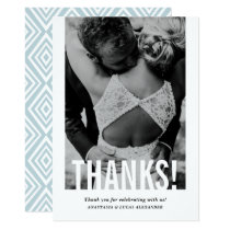 Modern Cutout Vertical Photo Wedding Thank You Card