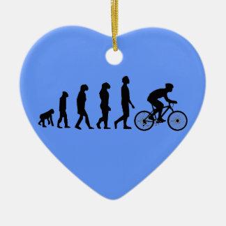 Modern Cycling Human Evolution Scheme Double-Sided Heart Ceramic Christmas Ornament