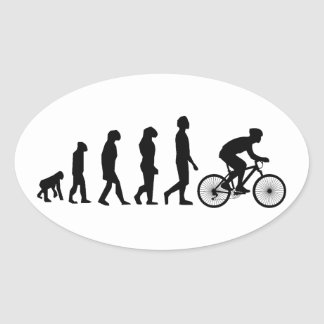 Modern Cycling Human Evolution Scheme Oval Sticker