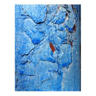 Modern Dacay Design With Striking Pealing Blue Postcard