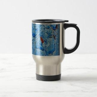 Modern Dacay Design With Striking Pealing Blue Travel Mug