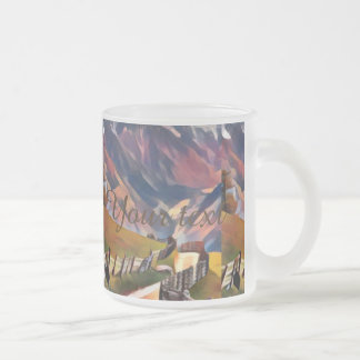 modern, dadaism,digital,painting,colorful,norway,n frosted glass coffee mug
