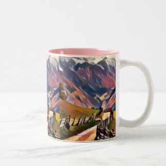 modern, dadaism,digital,painting,colorful,norway,n Two-Tone coffee mug