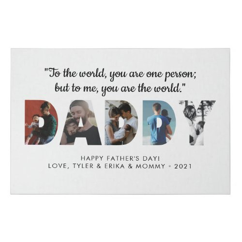 Modern DADDY Chic Photo Collage Happy Fathers Day Faux Canvas Print