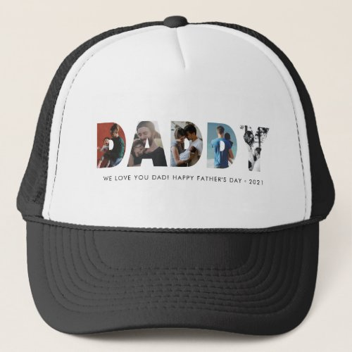 Modern DADDY Chic Photo Collage Happy Fathers Day Trucker Hat