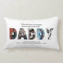 Modern DADDY Photo Collage Dad Happy Father's Day Lumbar Pillow