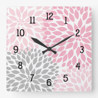 Modern Dahlia flowers pink and gray grey Square Wallclocks