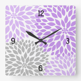 Modern Dahlia flowers purple lavender gray #2 Square Wall Clock
