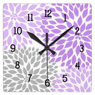 Modern Dahlia flowers purple lavender gray grey Wall Clock