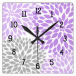 Modern Dahlia flowers purple lavender gray grey Square Wall Clock