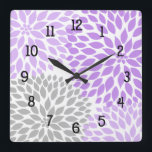 "Modern Dahlia flowers purple lavender gray grey Square Wall Clock<br><div class=""desc"">This modern lavender and grey clock is available in square or round.  Numbers can be removed.  Need a specific color for your decor?  Just ask the designer!  Feel free to contact us anytime with questions.</div>"
