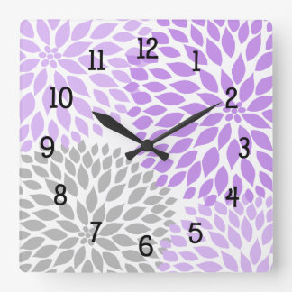 Modern Dahlia flowers purple lavender gray grey Square Wall Clock