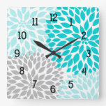 Modern Dahlia flowers turquoise blue gray grey Square Wall Clock