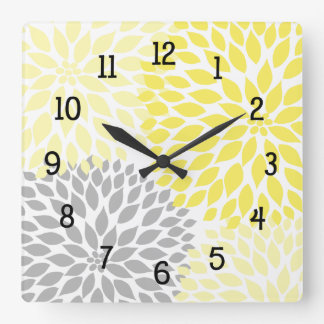 Modern Dahlia flowers yellow and gray grey Square Wall Clocks