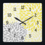 """Modern Dahlia flowers yellow and gray grey Square Wall Clock<br><div class=""""desc"""">This modern lavender and grey clock is available in square or round.  Numbers can be removed.  Need a specific color for your decor?  Just ask the designer!  Feel free to contact us anytime with questions.</div>"""