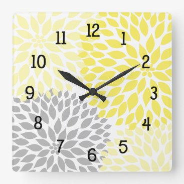 Toddler & Baby themed Modern Dahlia flowers yellow and gray grey Square Wall Clock