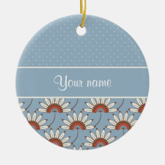 Modern Daisies and Polka Dots Ceramic Ornament