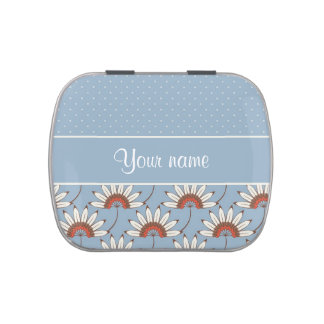 Modern Daisies and Polka Dots Jelly Belly Candy Tin