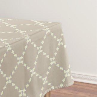 Modern Daisy Chain Diamond Print Taupe Tablecloth