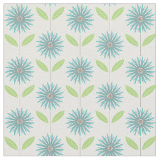 Modern Daisy Flower Floral Turquoise Blue Fabric