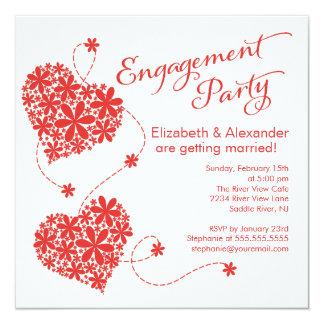 Modern Daisy Hearts Engagement Party Invitation