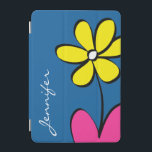 "Modern Daisy Personalized iPad Mini Cover - Blue<br><div class=""desc"">This daisy iPad cover with its fun bright color palette has a place for your name or initials. It's perfect for someone who wants their cover to be unique yet personalized. To change the font or background color just click the ""Customize it"" button.</div>"