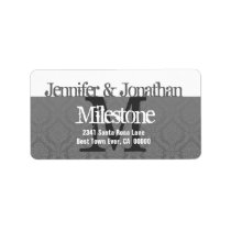 Modern Damask and Grunge Wedding Monogram Label