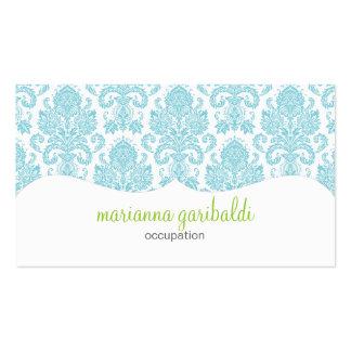 Modern Damask Aqua Personalized Business Cards