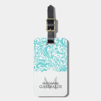 Modern Damask Aqua Personalized Travel Bag Tag