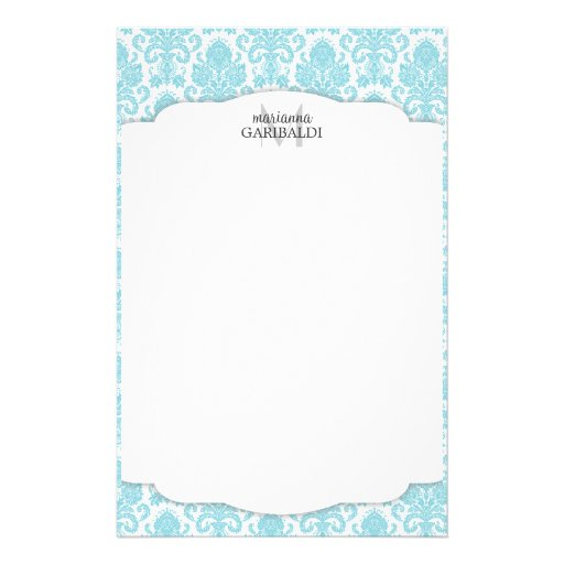 Modern Damask Aqua Personalized Stationery Paper