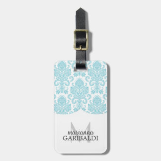Modern Damask Aqua Personalized Tag For Bags