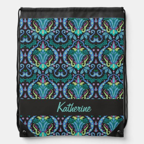 Modern Damask Art Deco Black Turquoise Blue Name Drawstring Bag
