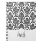 Modern Damask Black and White Personalized Spiral Notebook