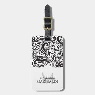 Modern Damask Black Personalized Bag Tag