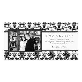 Modern Damask Black & White Thank You Photo Card