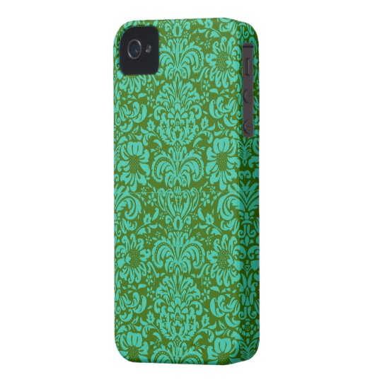 Modern Damask ~ Blue and Green iPhone 4 Case-Mate Case
